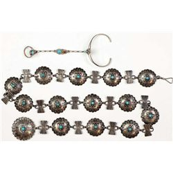 "Collection of 2 includes Navajo childs concho belt unmarked in sterling silver and turquoise 27"" lon"