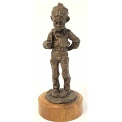 """School Boy"" bronze by Gary Schlidt #22/38, on base 12"" tall."