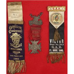 Collection of 3 ribbon badges includes 1883 Walla Walla Washington Territory Commandery, Fort Dodge