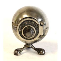 Cast iron original 19th C. bank marked Globe on ball and claw feet, fine overall original condition,