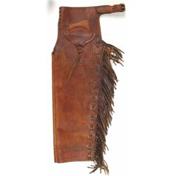 Finely made pair of boys shotgun chaps with outside pockets and fringe legs, maker marked HH Ranch F