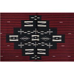 Finely woven vintage Mexican blanket or serape in fine condition with center black and white geometr