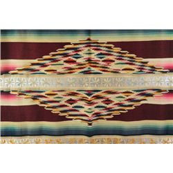 Fine C. 1930's Mexican serape showing superb workmanship and fine weave. Serape is designed with cla