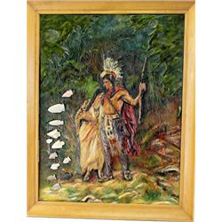 C. 1931 hand carved wooden Hiawatha portrait depicting Hiawatha's wedding journey with Minnehaha, in