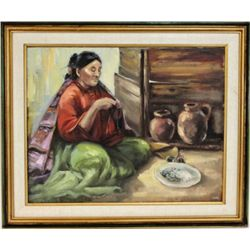 "Nicely accomplished painting signed Oyler entitled ""The Bead Maker"", image 23 1/2"" X 29 1/2'."