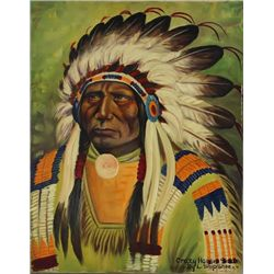 "Original painting ""Crazy Horse"" by Louis Shipshee 1896-1975 born in Kansas, self taught Prairie Band"