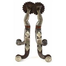Pair of unmarked McChesney spurs double mounted lady legs.