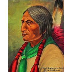Original painting  Chief Broken Arm Sioux  by Louis Shipshee 1896-1975 born in Kansas, self taught P