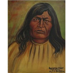 Original painting  Apache Chief Victoria  by Louis Shipshee 1896-1975 born in Kansas, self taught Pr