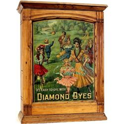 C. 1906 Diamond Dyes ash dye cabinet with embossed  Governess  tin litho insert with original slidin