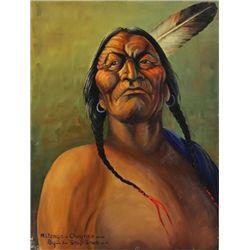 "Original painting ""Watonga Cheyenne"" by Louis Shipshee 1896-1975 born in Kansas, self taught Prairie"