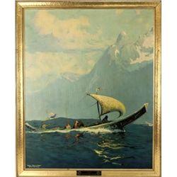 "Original Northern Pacific Alaskan Railway advertiser ""Off The Potlatch"", image 25 1/2' X 32""."