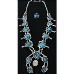 Fine Navajo squash blossom in sterling silver and turquoise with 10 blossoms, stamped HF on reverse,