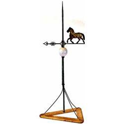 Original lightning rod with early horse figural weather vane, original white glass globe intact., ni