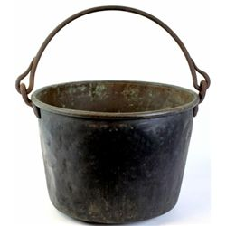 Early large brass trade pale with original hand wrought handle attached showing wonderful old patina
