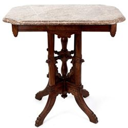 Victorian walnut marble top parlor table with rouge marble, C. 1880's.