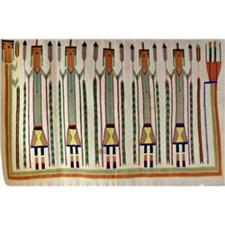 """Navajo six figure yei rug showing some fray at corner and edge, 38"""" X 61"""", some light stains."""