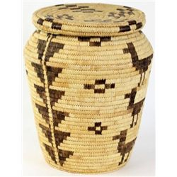 """C. 1960's Papago lidded basket with geometric and animal effigys showing some rub and loss, 15"""" over"""