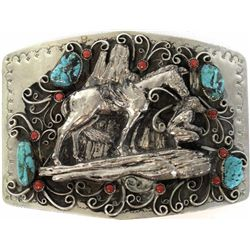 Impressive Navajo belt buckle in sterling silver , turquiose and red coral with heavy relief Navajo
