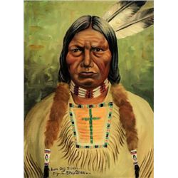"Original painting ""Low Dog Sioux"" by Louis Shipshee 1896-1975 born in Kansas, self taught Prairie Ba"