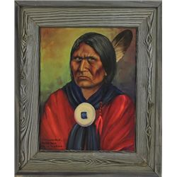 """Original painting """"Comanche Chief Horseback"""" framed by Louis Shipshee 1896-1975 born in Kansas, self"""