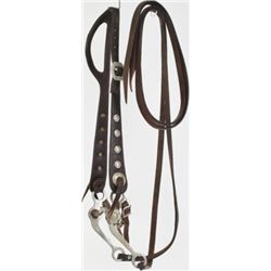 Floral carved split ear headstall with engraved Conchos and buckles marked Rogers, headstall stamped