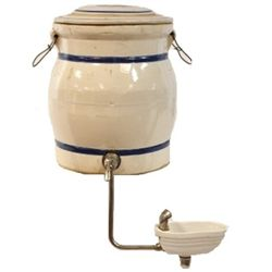 Scarce unmarked water crock by Red Wing for Sears and Roebuck Co. with unique water fountain attachm