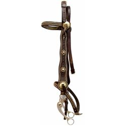 Harpham Brother marked spotted headstall with engraved aluminum bit, headstall in very good conditio