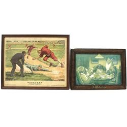 """Collection of 2 original advertisers includes original Waterloo in original old frame 12 1/2"""" X 17"""""""