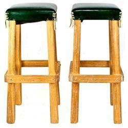 "Pair original Ranch Oak bar stools with original green upholstered seats, overall 31"" tall."