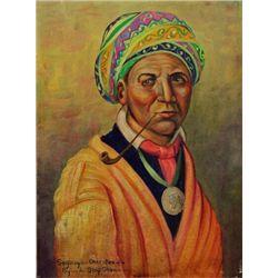 "Original painting ""Seguoya Cherokee"" by Louis Shipshee 1896-1975 born in Kansas, self taught Prairie"