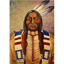 """Original painting """"Crow King Sioux Fought Custer"""" by Louis Shipshee 1896-1975 born in Kansas, self t"""