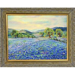 """Original landscape painting on board of Bluebonnets flowers 13"""" X 17"""", Texas official state flower s"""