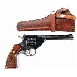 """H&R Sportsman 999 .22 cal. SN AG 2432 top break revolver 6"""" barrel blued finish and checkered medall"""