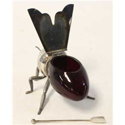Rare Victorian bee shaped honey server with removable red ruby glass body, honey bee frame silver pl