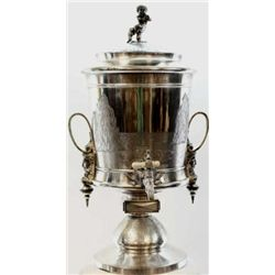 """Impressive 19th C. ice water urn by Reed & Barton, 26"""" tall and featured in the Reed & Barton 1885 c"""
