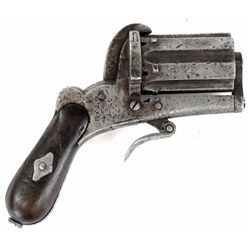 Apache style 6 shot pepper box Derringer 7mm SN 10116 with 1 3/4' barrel cylinder cluster and walnut