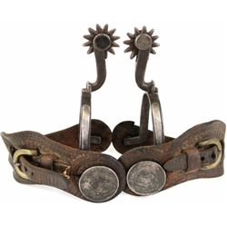Pair of bottle opener Tapia style spurs stamped hand forged in inner heel bands. Double munted with
