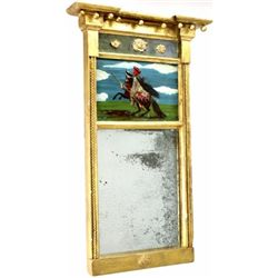 "Interesting 19th C. wall mirror with reverse painted Indian Chief and gold gilt wood frame, 14"" X 24"