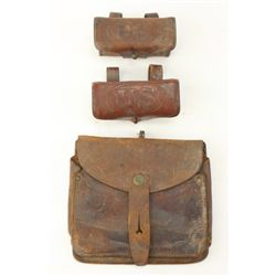 Collection of 3 includes 2 Rock Island Arsenal ammo pouches the first marked 1910 with Colo. F. A. 1