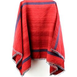 C. 1920's hand woven serepe in red cloth with blue banding, fringed edges. Cloth stitched main seams