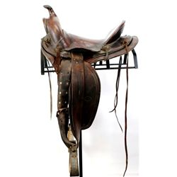 "Great HH Heiser stamped saddle No. 5258 round skirt, 14 1/2"" seat, leather wrapped horn with simple"