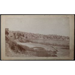 "Original B&W cabinet card ""A Hostile Indian Camp at the mission near Pine Ridge Agency"" further mark"