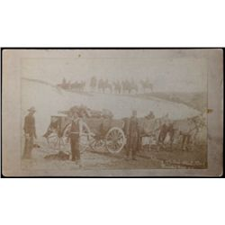 "Original B&W cabinet card ""Gathering Up the Dead at the Battle of Wounded Knee SD"" marked Northweste"