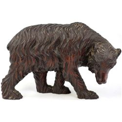 "Antique Black Forest carved bear 11"" long X 6 1/2"" showing great old patina."