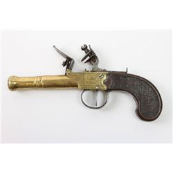 Antique brass canon barrel flintlock pistol with walnut grip, engraved with Liege proof on left side