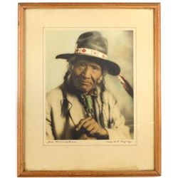 Original hand tinted photograph of Salish Chief Sam Resurrection by early Montana photographer Rolli