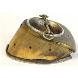 19th C. Horse Hoof ashtray with nickeled horseshoe and snaffle bit cigarette rest.