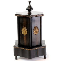 19th C. Cigar holder music box with Swiss movement. Cigar holder in gilt bronze, doors with bronze m