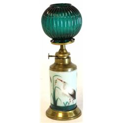 Antique cigar store lighter with hand painted porcelain body, brass burner and original green ribbed